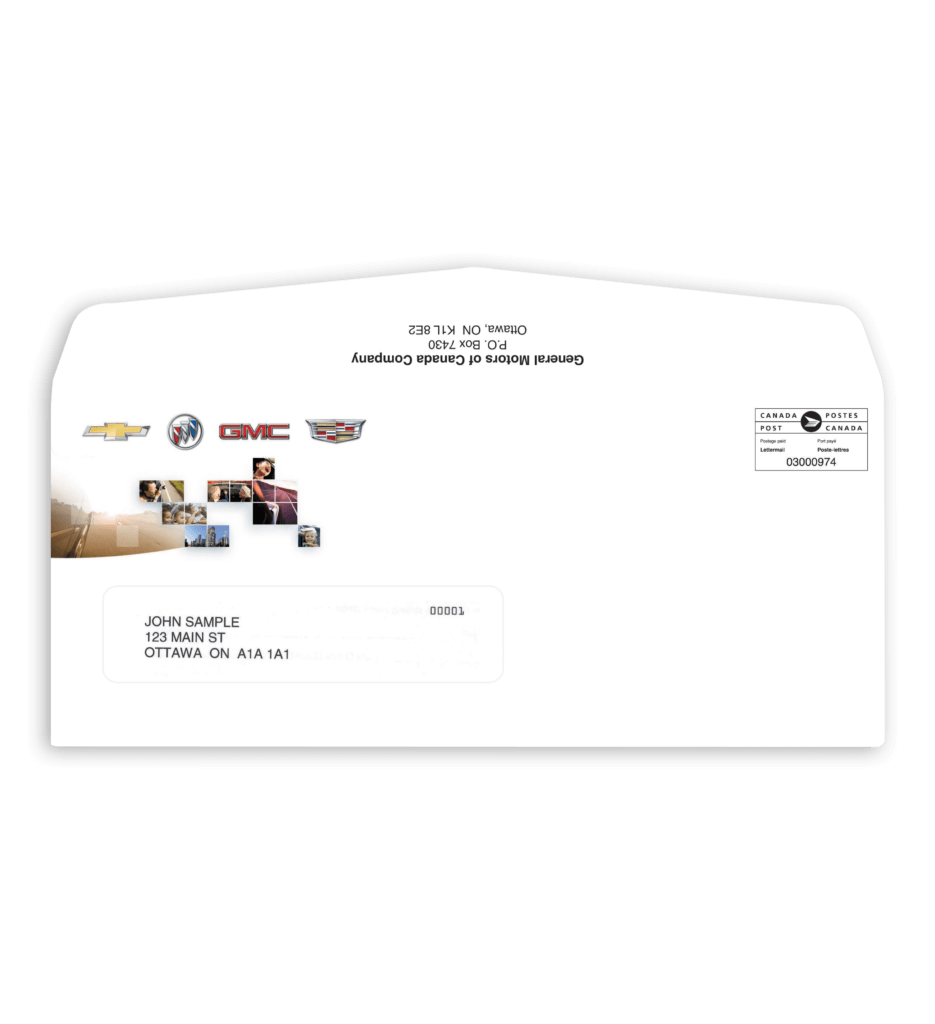 Personalized envelope for automotive fulfillment services